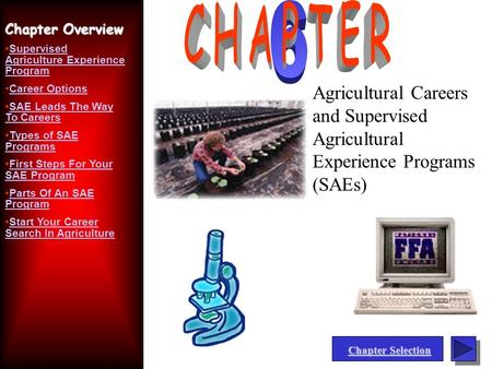 Chapter Selection Chapter Selection Agricultural Careers and Supervised Agricultural Experience Programs (SAEs) Chapter Overview Supervised Agriculture.