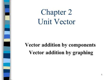 1 Chapter 2 Unit Vector Vector addition by components Vector addition by graphing.