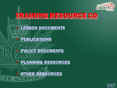 TRAINING RESOURCE CD  LESSON DOCUMENTS LESSON DOCUMENTS  PUBLICATIONS PUBLICATIONS  POLICY DOCUMENTS POLICY DOCUMENTS  <strong>PLANNING</strong> RESOURCES <strong>PLANNING</strong>.