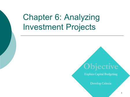 1 Chapter 6: Analyzing Investment Projects Copyright © Prentice Hall Inc. 2000. Author: Nick Bagley, bdellaSoft, Inc. Objective Explain Capital Budgeting.