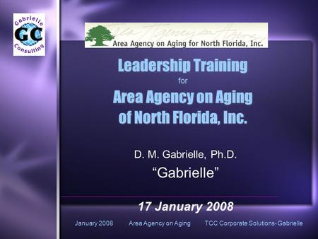 January 2008 Area Agency on Aging TCC Corporate Solutions- Gabrielle Leadership Training for Area Agency on Aging of North Florida, Inc. Leadership Training.
