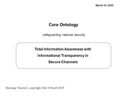 Total Information Awareness with Informational Transparency in Secure Channels March 16, 2005 Core Ontology safeguarding national security Ontology Tutorial.