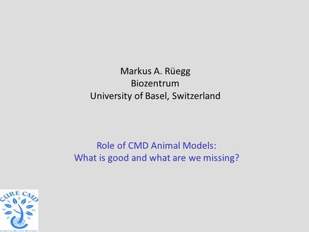 Role of CMD Animal Models: What is good and what are we missing? Markus A. Rüegg Biozentrum University of Basel, Switzerland.