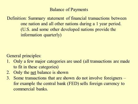 Balance of Payments Definition: Summary statement of financial transactions between one nation and all other nations during a 1 year period. (U.S. and.