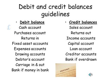 Debit and credit balances guidelines Debit balance Cash account Purchases account Returns in Fixed asset accounts Expenses accounts Drawing accounts Debtor's.