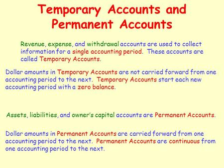 Temporary Accounts and Permanent Accounts Revenue, expense, and withdrawal accounts are used to collect information for a single accounting period. These.