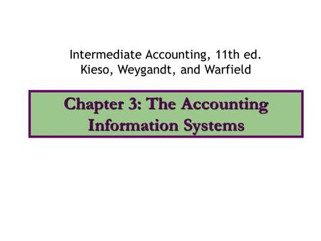 Chapter 3: The Accounting Information Systems