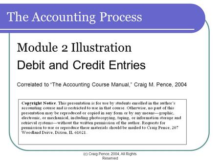 "(c) Craig Pence, 2004, All Rights Reserved The Accounting Process Module 2 Illustration Debit and Credit Entries Correlated to ""The Accounting Course Manual,"""