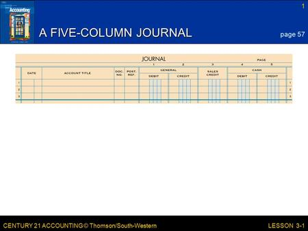 CENTURY 21 ACCOUNTING © Thomson/South-Western 1 LESSON 3-1 A FIVE-COLUMN JOURNAL page 57.