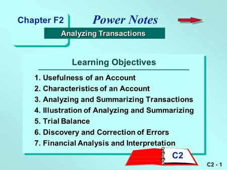 C2 - 1 Learning Objectives 1.Usefulness of an Account 2.Characteristics of an Account 3.Analyzing <strong>and</strong> Summarizing Transactions 4.Illustration of Analyzing.