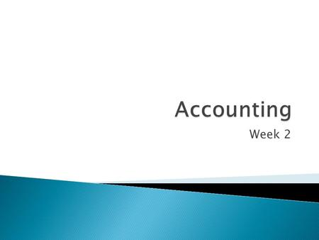 Week 2.  Lots of transactions occur which affect different accounts.  The business needs to keep track of the different accounts it is accounting for.