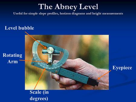 The Abney Level Useful for simple slope profiles, horizon diagrams and height measurements Eyepiece Scale (in degrees) Level bubble Rotating Arm.