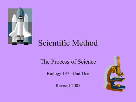 Scientific Method The Process of Science Biology 137– Unit One Revised 2005.