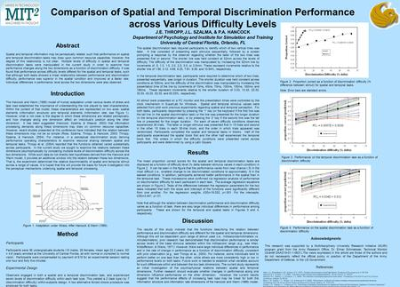 Comparison of Spatial and Temporal Discrimination Performance across Various Difficulty Levels J.E. THROPP, J.L. SZALMA, & P.A. HANCOCK Department of Psychology.