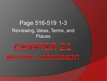 Chapter 21 Section 1 assessment