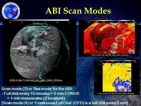 ABI Scan Modes 1 Scan mode (3) or 'flex mode' for the ABI: - Full disk every 15 minutes + 5 min CONUS + 1-min mesoscales (2 locations). [Scan mode (4)