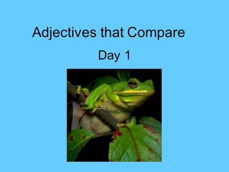 Adjectives that Compare Day 1. Adjectives that compare Add –er to an adjective to compare two persons, places, or things. Add –est to an adjective to.