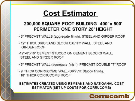 Cost Estimator 200,000 SQUARE FOOT BUILDING 400' x 500' PERIMETER ONE STORY 28' HEIGHT ESTIMATES CREATED USING RSMEANS AND NATIOANAL COST ESTIMATOR (SET.