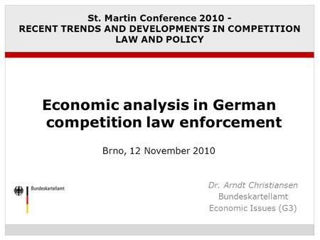 Economic analysis in German competition law enforcement