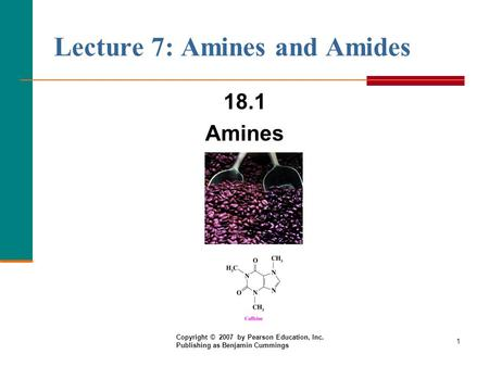 Lecture 7: Amines and Amides