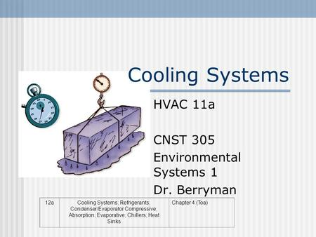 Cooling Systems HVAC 11a CNST 305 Environmental Systems 1 Dr. Berryman 12aCooling Systems; Refrigerants; Condenser/Evaporator Compressive; Absorption;