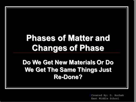 Phases of Matter and Changes of Phase Do We Get New Materials Or Do We Get The Same Things Just Re-Done?