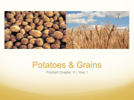 Potatoes & Grains ProStart Chapter 11 | Year 1. Types of Potatoes Potato varieties differ in starch and moisture content, shape, and skin color. High-starch,