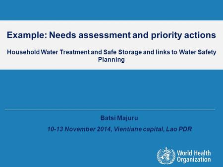 Example: Needs assessment and priority actions Household Water Treatment and Safe Storage and links to Water Safety Planning Batsi Majuru 10-13 November.
