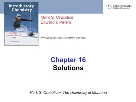 Www.cengage.com/chemistry/cracolice Mark S. Cracolice Edward I. Peters Mark S. Cracolice The University of Montana Chapter 16 Solutions.