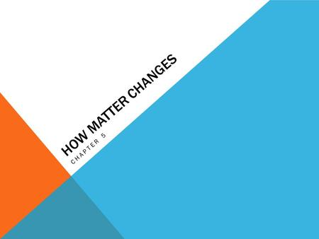 HOW MATTER CHANGES CHAPTER 5. Lesson 1 Essential Question: What are physical changes in matter?
