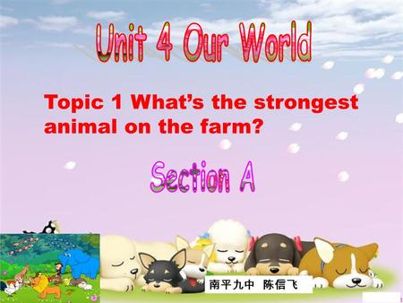 Topic 1 What's the strongest animal on the farm? 南平九中 陈信飞.