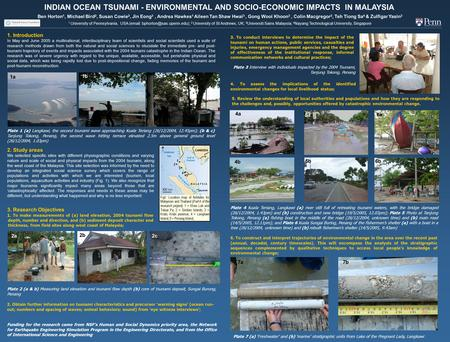 4a 4b 5a 5b 6a 6b INDIAN OCEAN TSUNAMI - ENVIRONMENTAL AND SOCIO-ECONOMIC IMPACTS IN MALAYSIA Ben Horton 1, Michael Bird 2, Susan Cowie 2, Jin Eong 3,