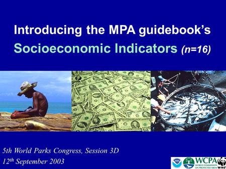 Introducing the MPA guidebook's Socioeconomic Indicators (n=16) 5th World Parks Congress, Session 3D 12 th September 2003.
