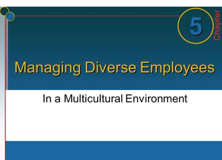 Chapter 1 1 5 5 Managing Diverse Employees In a Multicultural Environment.