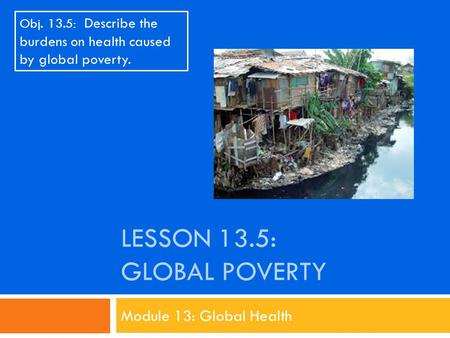 LESSON 13.5: GLOBAL POVERTY Module 13: Global Health Obj. 13.5: Describe the burdens on health caused by global poverty.