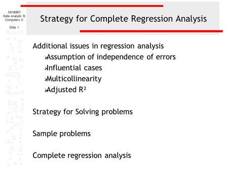 Strategy for Complete Regression Analysis