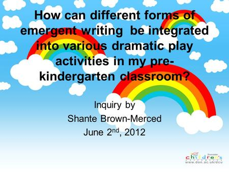 How can different forms of emergent writing be integrated into various dramatic play activities in my pre- kindergarten classroom? Inquiry by Shante Brown-Merced.