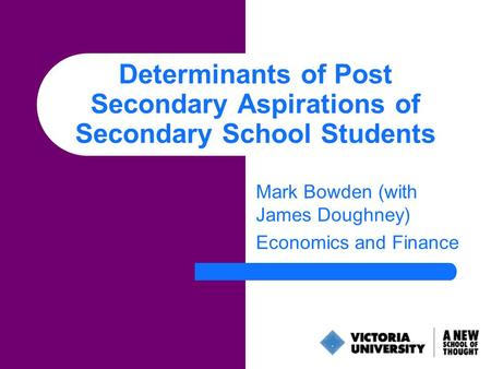 Determinants of Post Secondary Aspirations of Secondary School Students Mark Bowden (with James Doughney) Economics and Finance.
