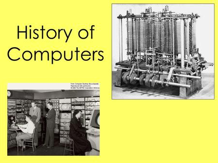 History of Computers. Definition of Computer One who computes A device for making calculations A programmable electronic device that stores, retrieves,