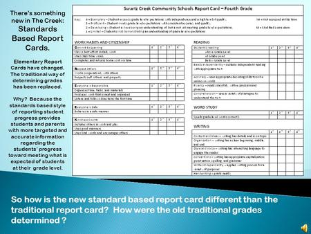 There's something new in The Creek: Standards Based Report Cards. Elementary Report Cards have changed. The traditional way of determining grades has.