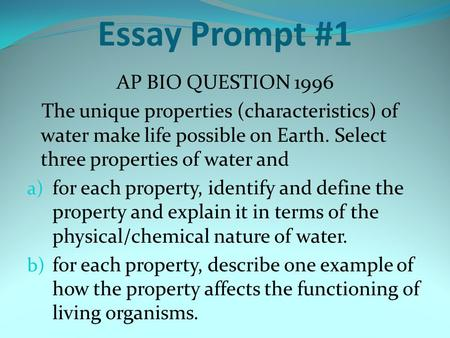 ap biology essay questions 2009 I took the ap biology exam today ap biology, 2009 scoring the essay questions themselves will be posted on the collegeboard website day after.