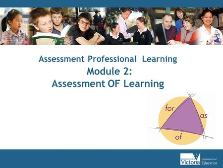 Assessment Professional Learning Module 2: Assessment OF Learning.