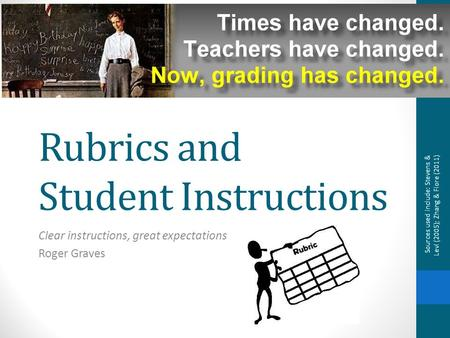 Rubrics and Student Instructions Clear instructions, great expectations Roger Graves Sources used include: Stevens & Levi (2005); Zhang & Fiore (2011)