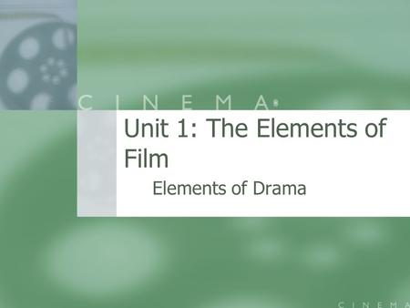 Unit 1: The Elements of Film Elements of Drama. Plot The structure of a story The structure of a story There are two basic plot structures in Western.