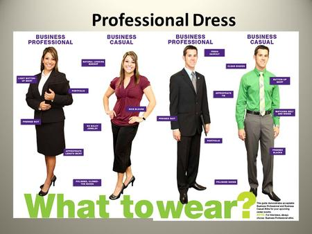 Professional Dress. First Impression First impressions are often the ones that last! Areas that have a HUGE impact on your image are – appearance – interpersonal.