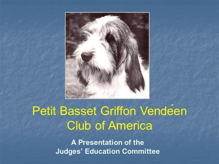 A Presentation of the Judges' Education Committee Petit Basset Griffon Vendeen Club of America.