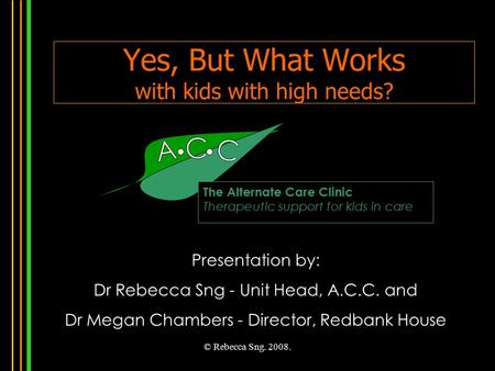 © Rebecca Sng. 2008. Yes, But What Works with kids with high needs? The Alternate Care Clinic Therapeutic support for kids in care Presentation by: Dr.