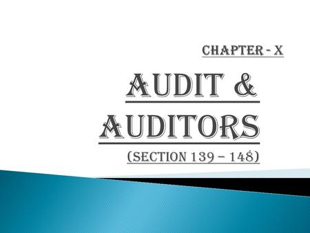 AUDIT & AUDITORS (Section 139 – 148)