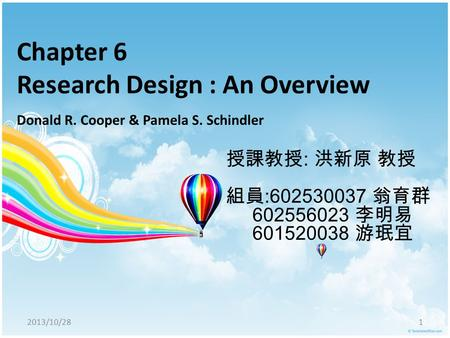 Chapter 6 <strong>Research</strong> Design : An Overview