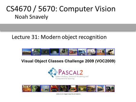 Lecture 31: Modern object recognition